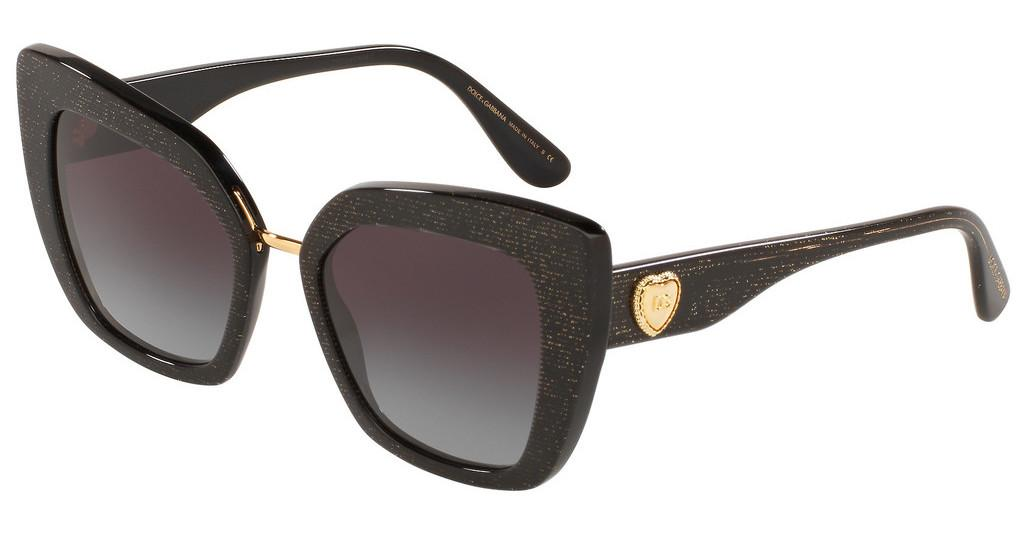 Dolce & Gabbana   DG4359 32188G LIGHT GREY GRADIENT BLACKGLITTER GOLD STRIPED BLACK