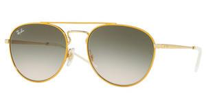 Ray-Ban RB3589 90582C LIGHT BROWN GRADIENT GREENGOLD TOP ON YELLOW