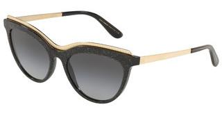 Dolce & Gabbana DG4335 32188G LIGHT GREY GRADIENT BLACKGLITTER GOLD STRIPED BLACK