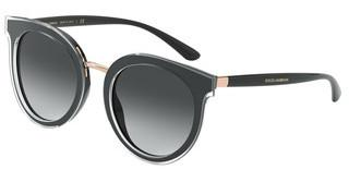 Dolce & Gabbana DG4371 53838G LIGHT GREY GRADIENT BLACKTOP CRYSTAL ON BLACK