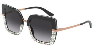 Dolce & Gabbana DG4373 32508G LIGHT GREY GRADIENT BLACKTOP BLACK ON PRINT ROSE/BLACK