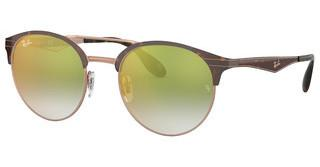 Ray-Ban RB3545 9074W0 GRADIENT GREEN MIRROR REDCOPPER ON TOP HAVANA